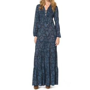 Michael Kors Blue Paisley Tiered Maxi Dress XXS